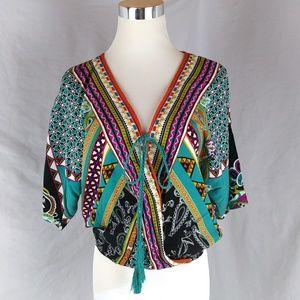 Faux Wrap Tie Front Crop Top Aztec Boho Festival